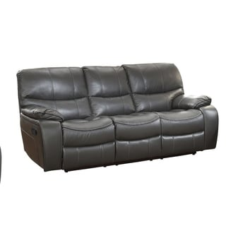 Leather Upholstered Double Reclining Sofa, Gray