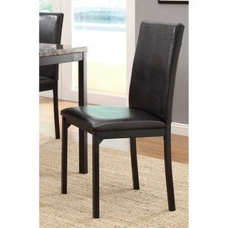 Leatherette Upholstered Counter Height Metal Frame Side Chair, Dark Brown (Set of 4)