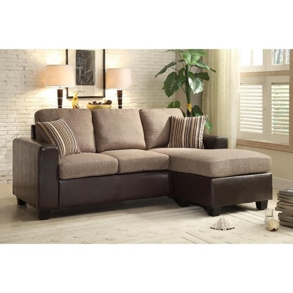 Pleasing Dual Tone Reversible Sofa Chaise With Two Accent Pillows Brown Andrewgaddart Wooden Chair Designs For Living Room Andrewgaddartcom