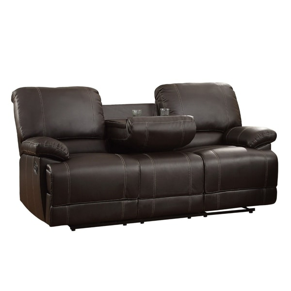 Leather Double Reclining Sofa With Drop Down Cup Holders, Dark Brown