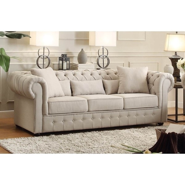 Dusk Button Tufted Sofa 92: Shop Fabric Upholstered Button Tufted Sofa With 5 Pillows