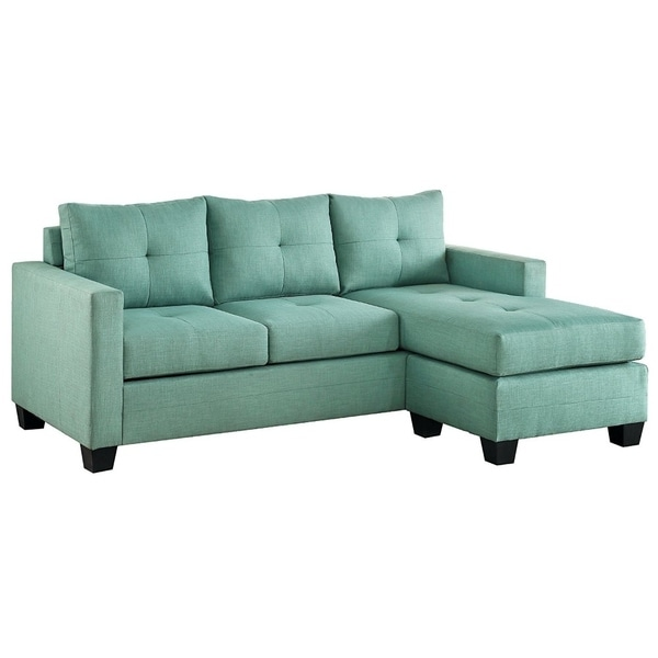 Contemporary Sectional Sofa With Reversible Chaise , Teal Green