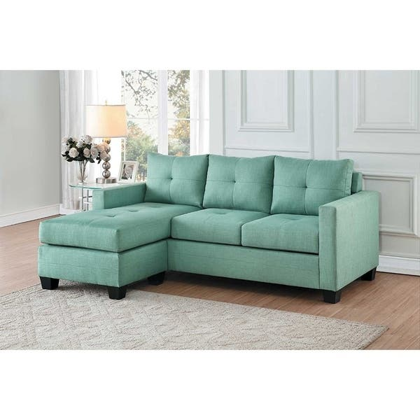 Contemporary Sectional Sofa With Reversible Chaise Teal Green