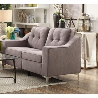 Button Tufted Fabric Upholstered Love Seat With Chrome Legs, Gray