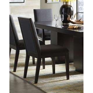 Wood & Fabric Dining Side Chair with Nail head Trim, Set of 2, Charcoal Black