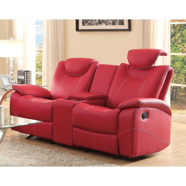 Shop Glider Recliner Loveseat With Adjustable Headrest And Center Console, Red