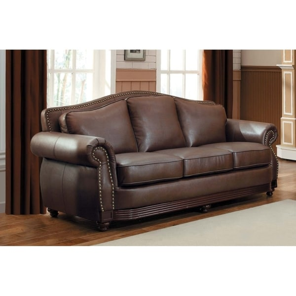 Shop Bonded Leather Sofa With Rolled Arms And Camel Back