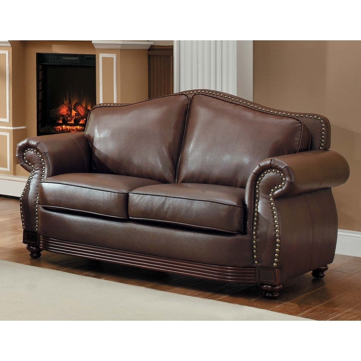 Fabulous Bonded Leather Loveseat With Rolled Arms And Camel Back Design Brown Creativecarmelina Interior Chair Design Creativecarmelinacom