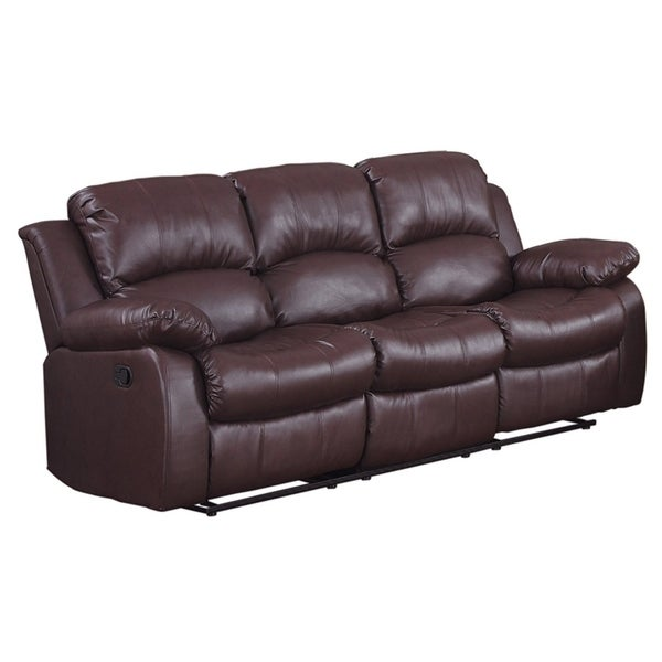 shop bonded leather recliner sofa brown free shipping today rh overstock com elran bonded leather reclining sofa bonded leather reclining sofa set