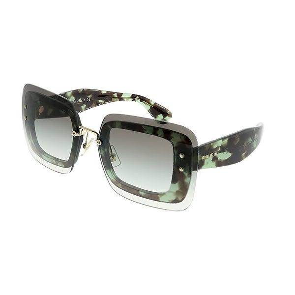 8daf38eed4c Miu Miu Square MU 02RS UAG0A7 Women Green Havana Frame Green Gradient Lens  Sunglasses