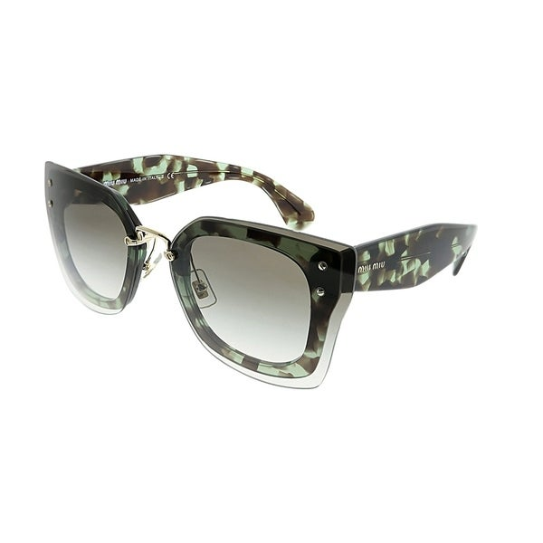 9f91b11854f67 Miu Miu Cat-Eye MU 04RS UAG0A7 Women Green Havana Frame Grey Gradient Lens  Sunglasses