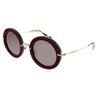 Miu Miu Round MU 08RS Pavé Story Evolution U6A6X1 Women Dark Red Frame Brown Lens Sunglasses