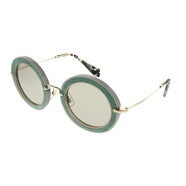 0f384d095c00 Miu Miu Round MU 08RS Pavé Story Evolution U6S5J2 Women Opal Aqua Green  Frame Light Brown