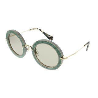 c5790898825 Miu Miu Round MU 08RS Pavé Story Evolution U6S5J2 Women Opal Aqua Green Frame  Light Brown