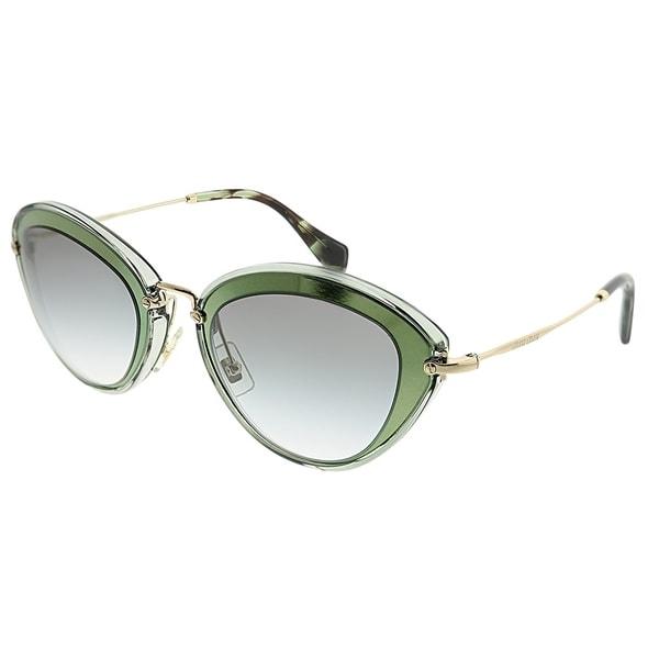 f616d5d87a Miu Miu Cat-Eye MU 51RS UFC1E0 Women Green Frame Grey Gradient Lens  Sunglasses