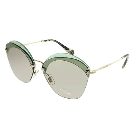 Miu Miu Square MU 53SS VX15J2 Women Transparent Green Frame Brown Lens Sunglasses
