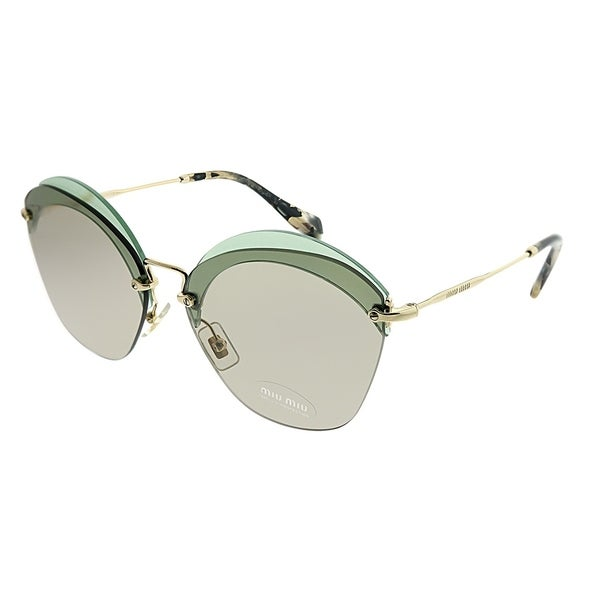 62acee79291 Miu Miu Square MU 53SS VX15J2 Women Transparent Green Frame Brown Lens  Sunglasses
