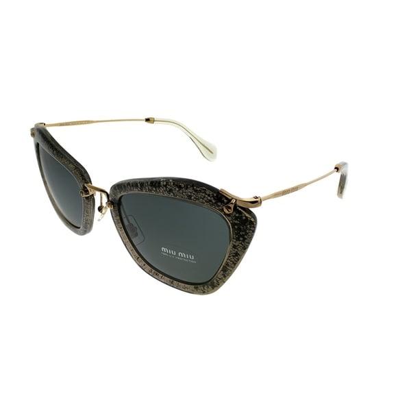 ecf695e6201e Miu Miu Cat-Eye MU 10NS Noir IAH1A1 Women Smoke Glitter Frame Grey Lens  Sunglasses