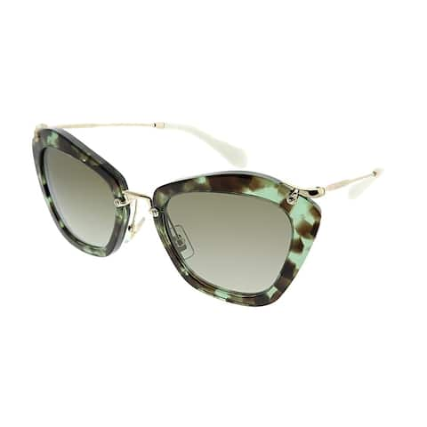 82d0f0277a19 Miu Miu Cat-Eye MU 10NS Noir UAG4K1 Women Green Havana Frame Brown Gradient  Lens