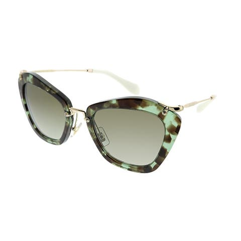 dd0852baee803 Miu Miu Cat-Eye MU 10NS Noir UAG4K1 Women Green Havana Frame Brown Gradient  Lens