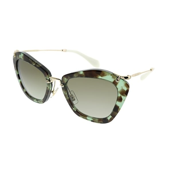 e618003049bb Miu Miu Cat-Eye MU 10NS Noir UAG4K1 Women Green Havana Frame Brown Gradient  Lens