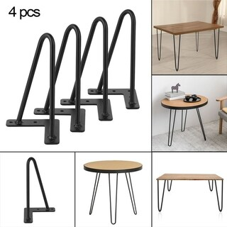 4PCS/Set 8 Inch 10mm Solid Iron Coffee Desk Table Hairpin Legs Bars Black