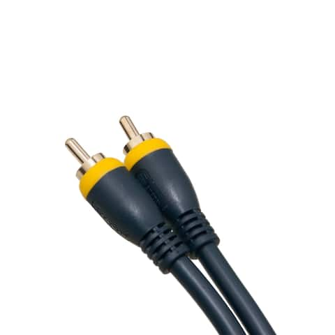 Offex High Quality Composite Video Cable, RCA Male, Gold Plated Connectors, Blue, 12 Feet