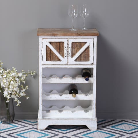 White and Natural Wood Wine Cabinet