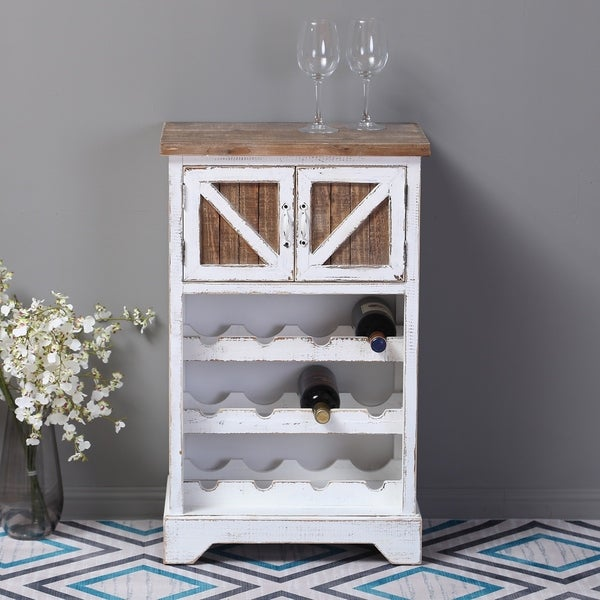 White and Natural Wood Wine Cabinet. Opens flyout.