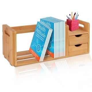 SereneLife SLDCAB180 Natural Wood Bookshelf Desktop Shelf Organizer Unit with Drawers & Adjustable Shelf
