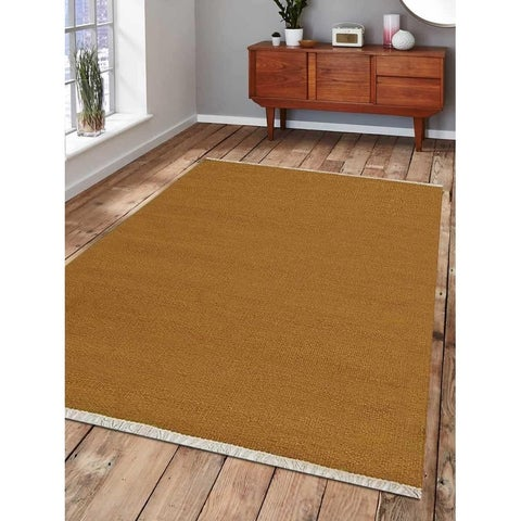Hand Woven Flat Weave Kilim Wool Area Rug Contemporary Gold