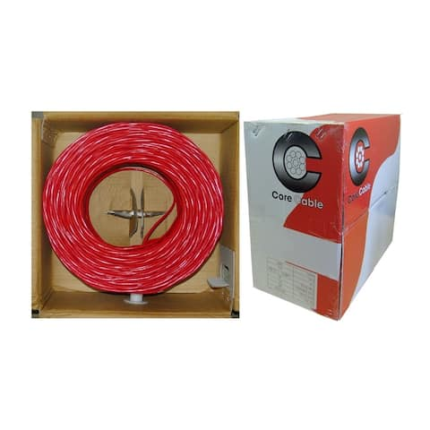 Offex Fire Alarm and Security Cable, Red, 18/2 (18 AWG 2 Conductor), Solid, FPLR, Pullbox, 1000 Feet
