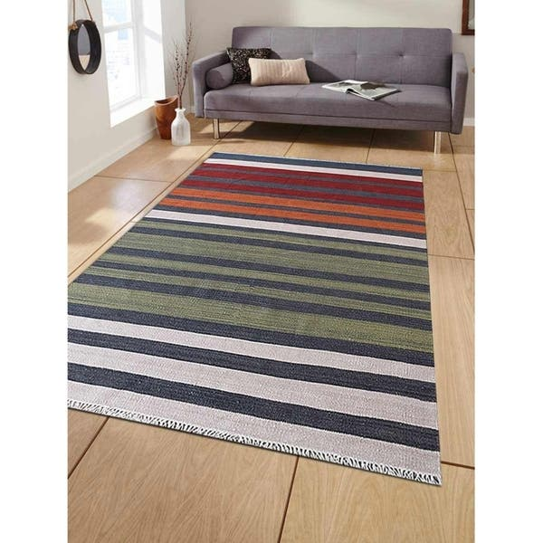 Hand Woven Flat Weave Kilim Woolen Area Rug Contemporary Multi Overstock 23462171 5 X 8 Red