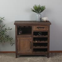 Distressed Dark Wood Wine Station Console Cabinet
