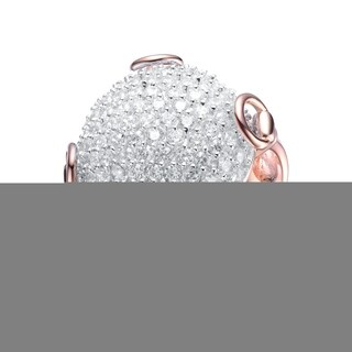 Collette Z Sterling silver with Rose Gold Plated Clear Round Cubic Zirconia Studded Ball Ring