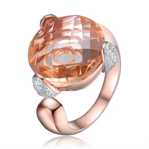 Collette Z Sterling Silver with Rose Gold Plated Morganite Round Cubic Zirconia Solitaire Cocktail Ring
