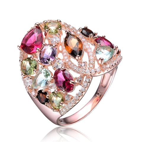 Collette Z Sterling Silver with Rose Gold Plated Multi Colored Pear Oval Marquise and Round Cubic Zirconia Wrap Ring