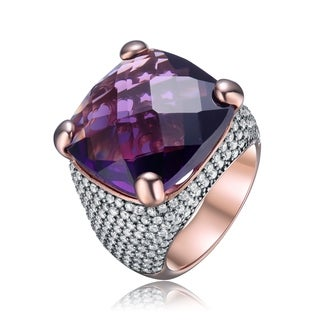 Collette Z Sterling Silver with Rose Gold Plated Amethyst Purple Cushion with Round Cubic Zirconia Pave Cocktail Dome Ring