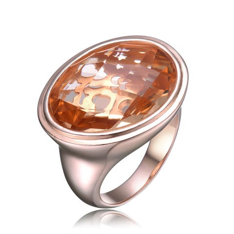 Collette Z Sterling Silver with Rose Gold Plated Morganite Oval Cubic Zirconia Solitaire Cocktail Ring
