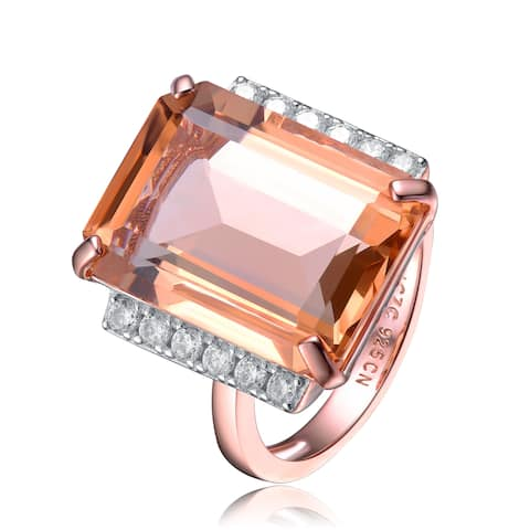Collette Z Sterling Silver with Rose Gold Plated Morganite Emerald with Clear Round Cubic Zirconia Solitaire with Accent Ring