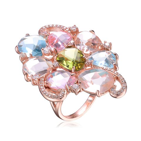 Collette Z Sterling Silver with Rose Gold Plated Multi Colored Oval with Clear Round Cubic Zirconia Cluster Cocktail Ring