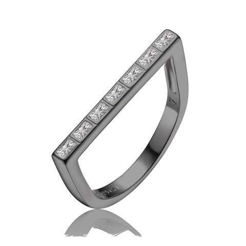 Collette Z Sterling Silver with Black Plated Clear Baguette Cubic Zirconia Pave Bar Ring