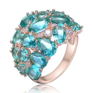 Collette Z Sterling Silver with Rose Gold Plated Aqua Blue Pear and Oval with Clear Round Cubic Zirconia Cluster Cocktail Ring