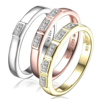 Collette Z Sterling Silver with Gold Rhodium and Rose Gold Plated Clear Baguette Cubic Zirconia Stackable Ring
