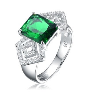 Collette Z Sterling Silver with Rhodium Plated Emerald Green Radiant and Clear Round Cubic Zirconia Diamond Pave Engagement Ring