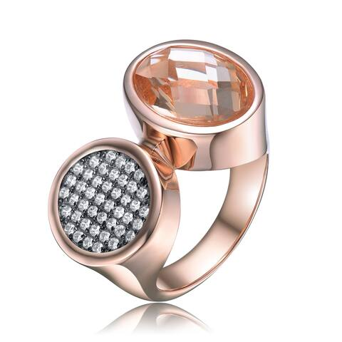 Collette Z Sterling Silver with Rose Gold Plated Morganite Oval with Clear Round Cubic Zirconia Pave Two Head Cocktail Ring