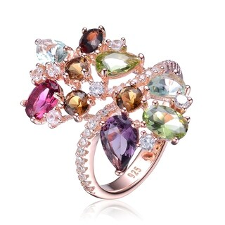 Collette Z Sterling Silver with Rose Gold Plated Multi Colored Pear Oval and Round Cubic Zirconia Bypass Ring