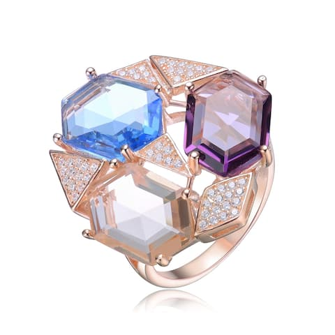 Collette Z Sterling Silver with Rose Gold Plated Multi Colored Hexagon with Clear Round Cubic Zirconia Geometric Ring