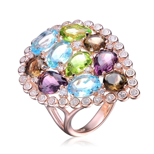 Collette Z Sterling Silver with Rose Gold Plated Multi Colored Pear Oval and Round Cubic Zirconia Halo Pear Cocktail Ring