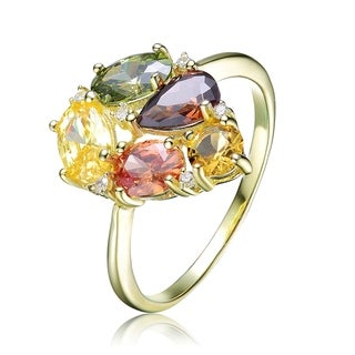 Collette Z Sterling Silver with Gold Plated Multi Colored Pear Oval and Round Cubic Zirconia Ring